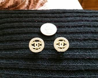 Rhinestone White enamel post earring!!! FAB!!!!!!!!