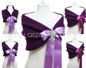 Wedding Shawl, Bridal Shawl, Bridal Wedding Stole, Purple Shawl, Hand Knit Shawl, Purple Capelet, Wedding Capelet, Bridesmaids Gift Shawl