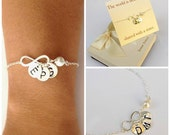 Personalized Infinity sterling silver bracelet. Mother of the bride and Groom bracelet. Sister bracelet, friendship bracelet