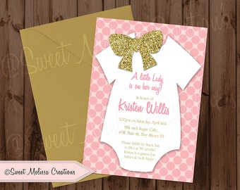 Little Lady Baby Shower Invitation / Girl Shower / Bow/ Polka Dots / DIY or Printed / by Sweet Melissa Creation
