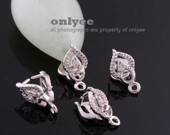 20Pcs-11mmX6mmRhodium Plated Brass With cubic Pinch Bail,peg for pendant,earring (K776S)