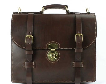 "English Bridle Leather Briefcase Chocolate Thick Hand Stitched 16"" x 12"" x 4"" - Marcellino NY - Ready To Ship"