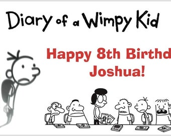 Custom Vinyl Diary of a Wimpy Kid Birthday Party Banner Decorations with Child's Name