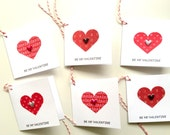 Mini Valentine Cards-Set of 6 or 8 For Same Shipping Cost-May Be Ordered Without Words On The Front