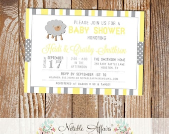 Gray and Light Yellow Sheep Stripes and Polka Dots Baby Shower invitation - choose your colors - Lamb Baby Shower