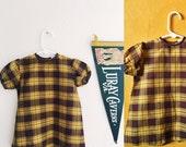 Vintage mustard plaid 70s baby dress / retro baby dress / fall camping dress/ retro baby clothes size 12M