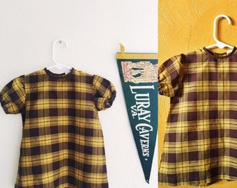 Vintage mustard plaid 70s baby dress / retro baby dress / fall camping dress/ retro baby clothes size 12M