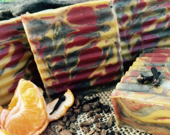Spiced Patchouli and Orange Swirl, Cold Processed Soap, 4oz