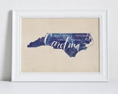 North Carolina hand lettering digital print // NC State // UNC // Gift for Her // Gift for Him // Canvas print