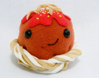 Plush meatball and spaghetti toy