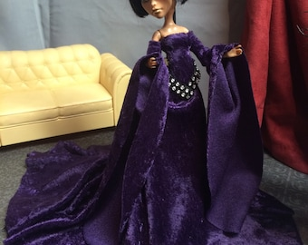 Monster High Doll Clothes -  Purple Velvet Medieval Gown with Bling Trim Accent for your Monster High Doll