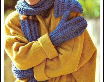 Vintage 80s Knitted Hat, Scarf and Mittens Pattern - PDF Instant Download
