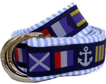 Nautical Flags Seersucker Nautical Belt/ Fabric Belt/Men's/ Woman's Seersucker Belt/Nautical Flags with Blue Seersucker Fabric D-Ring Belt