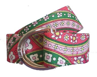 Cloth Belt/ Fabric Belt/Woman's D-Ring Belt/ Colorful Belt/ Canvas Belt/ Preppy Belt/ Lyla Daisy Fabric D-Ring Belt