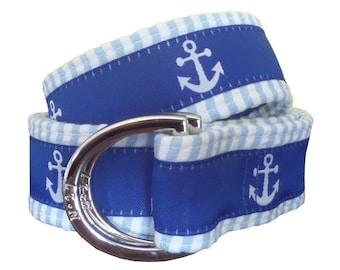 Cloth Belt/ Fabric Belt/Woman's D-Ring Belt/ Colorful Belt/ Canvas Belt/ Preppy Belt/White Anchor with Blue Seersucker Fabric D-Ring Belt