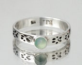 Custom Gemstone Paw Print Ring- Dog Lover Gift- Pet Lover Jewelry- Animal Rings- Sterling Silver Stacking Ring