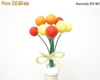 CIJ SALE Felt pom pom flowers craspedia bouquet multicolor wool balls hot yellow orange red short tiny stem Christmas  Easter Birthday 10 bo