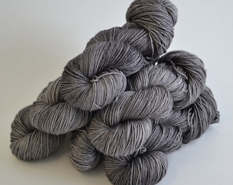 Hand dyed yarn pick your base - Graphite - sw merino cashmere nylon fingering dk worsted