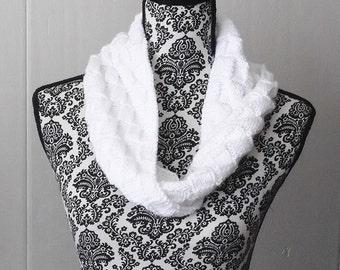 Hand Knit Moebius Cowl Infinity Scarf Hooded Neckwarmer Women, Teen Snow White Basketweave Secret Santa Gift