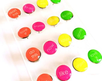 Set of 16 Neon Bright Pushpins / Thumbtacks To Do for Planning