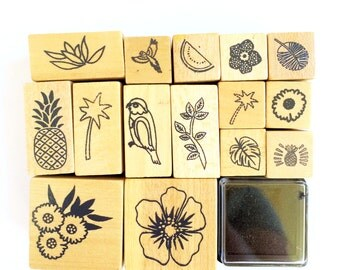 Set of 15 Wooden / Rubber Stamps Tropical