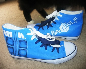 Doctor Who hand painted hi top sneakers - made to order