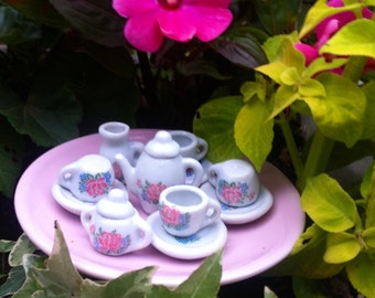 Tea party for the fairy garden--Pink and Pastel--Minature fairy Garden