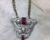 GorGeoUs Art Deco Rhinestone Dress/Sweater Clip 30's Ruby Red Stones Repurposed Vintage Assemblage OOAK Necklace Brass Chains WishAnWear XO