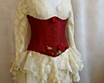 "SALE RED  SILK Corset 24"" Waist Underbust  Burlesque Lolita  By Ophelias Folly"