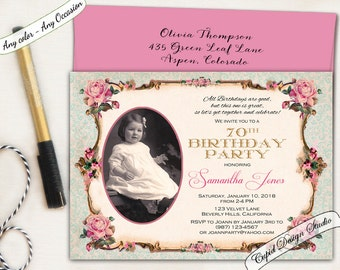 Surprise 50th birthday invitation. Pink and gold Birthday invitation. Photo birthday invitation. Vintage roses 80th Birthday invitation.