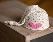 Newborn Girl Hat, Upcycled Newborn Hat, Rainbow Hat with Heart, Newborn Sleepy Time Hat, READY TO SHIP newborn photo prop, Pink Newborn Hat
