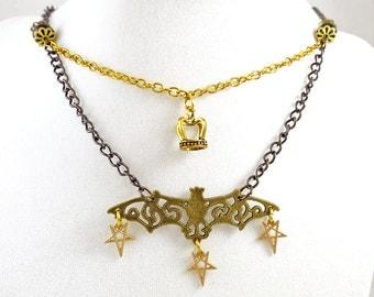 Gothic Bat Necklace Gold Black Halloween Choker