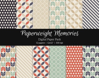 "Digital patterned paper - Retro Feeling -  digital scrapbooking - scrapbook paper - 12x12"" 300dpi  - Commercial Use"