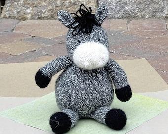 Donkey, Organic Toy,  Wool Donkey, Stuffed Donkey, Farm Toy, Stuffed Animal, Plush Donkey, Eco Friendly Toy, Hand Knitted Toy, Ready to Ship