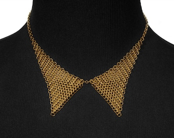 Necklace collar necklace silverplated chain mail / 24 carat goldplated