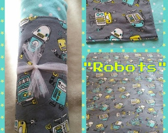 Robots X-Large Flannel Receiving Blanket