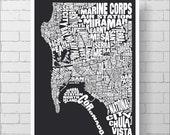 San Diego Map Print - Custom San DiegoTypography Map with Neighborhoods and Landmarks, Various Colors, Word Map Art Print Poster