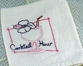 Cocktail Hour Hand Embroidered Vintage Design Tea Towel, Kitchen Towel, bar towel - Great Gift for a Guy Who Loves his Bar #123