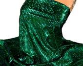 "GREEN Nylon Spandex Lycra Fabric~ HOLOGRAM FOIL Small Mermaid Scales Print 60"" 4W Stretch ~Costume Dancewear"