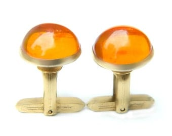 Orange Cabochon Cufflinks Vintage Suit And Tie Accessory For Men Domed Orange Lucite 1960s Signed Hickok USA Formal Casual Gift For Him