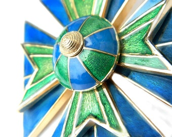 Ciner Maltese Cross Brooch Blue Green Enamel High Fashion 1960's Vintage Rare Collectible Jewelry Pin For Women