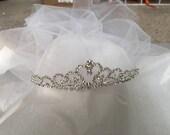 Crown, Tiara Veil, Bachelorette party veil, Fun party veil, princess tiara veil, wedding veil, Party Veil