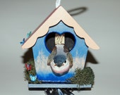 Decorative Birdhouse Windchime, Hand Painted Unique Birdhouse, Miniature Wooden Windchime Home Decor, Part of Sale Goes to Animal Rescue