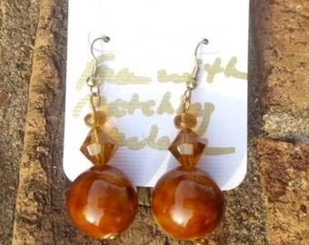 Brown-Orange Earrings