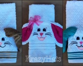 Bunny hand towel with  wash cloth for the ears.Easter bunny towel