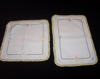 Set of 2 Vintage Small Throw Pillow Covers ~ Hand Embroiderd ~ Yellow Crocheted Lace Border ~ 9 x 9.5 square ~ 7.5 x 12 rectangle