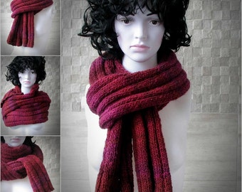 tweed mens scarf Soft and comfortable burgundy knit Men's Scarf . Perfect knit accessories for cool days. knit mens scarf