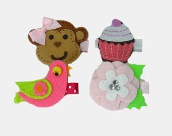 Baby Girl Hair Clips, Baby Hair Clip, Pink Hair Accessories, Baby Hair Clippies, Barrette, Hair Bow, Toddler Felt Hair Clips