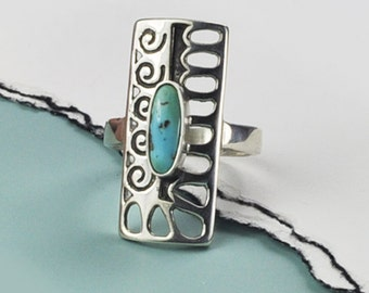 Turquoise Ring, Turquoise and Silver Ring, Sterling and Genuine Turquoise Ring, Southwest Style Ring, Turquoise and 925, Turquoise Jewelry