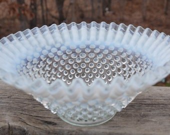 "eb1649 Vintage Opalescent Hobnail 9"" Diameter Bowl Possibly Fenton Unusual Rare"